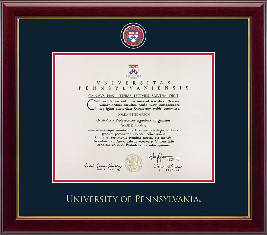 University Of Pennsylvania Masterpiece Medallion Diploma Frame In Gallery Item 258645 From