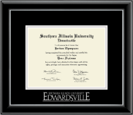 Southern Illinois University at Edwardsville Diploma Frame - Silver Embossed Diploma Frame in Onyx Silver