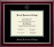 Sarah Lawrence College Diploma Frame - Silver Embossed Diploma Frame in Gallery Silver