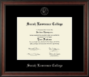 Sarah Lawrence College Diploma Frame - Silver Embossed Diploma Frame in Studio