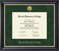 Sarah Lawrence College Diploma Frame - Gold Engraved Medallion Diploma Frame in Noir