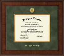 Scripps College Diploma Frame - Presidential Gold Engraved Diploma Frame in Madison