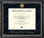 Wentworth Institute of Technology Diploma Frame - Gold Engraved Medallion Diploma Frame in Noir
