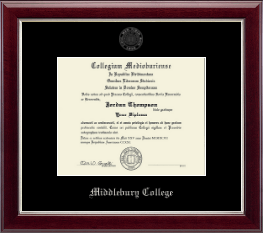 Middlebury College Diploma Frame - Silver Embossed Diploma Frame in Gallery Silver