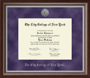 The City College of New York Diploma Frame - Silver Engraved Medallion Diploma Frame in Devonshire