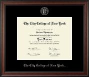 The City College of New York Diploma Frame - Silver Embossed Diploma Frame in Studio