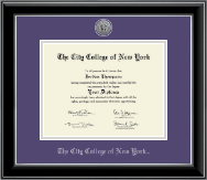 The City College of New York Diploma Frame - Silver Engraved Medallion Diploma Frame in Onyx Silver