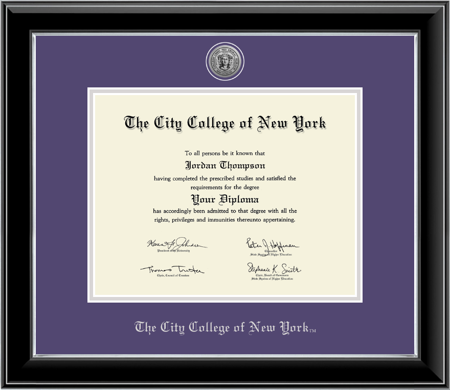 the city college of new york silver engraved medallion diploma  the city college of new york silver engraved medallion diploma frame in onyx silver item 258810