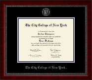 The City College of New York Diploma Frame - Silver Embossed Diploma Frame in Sutton