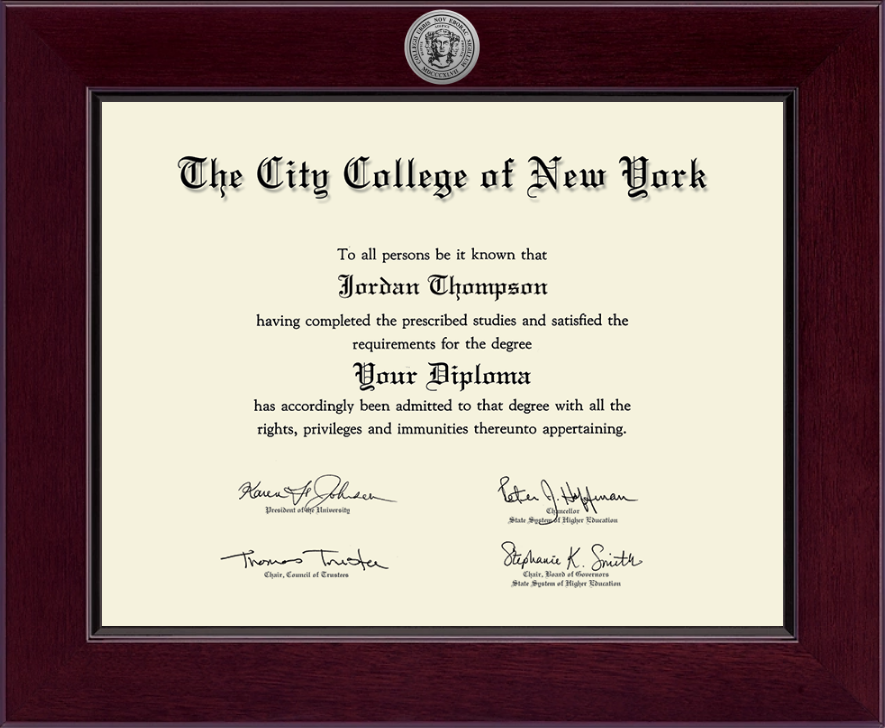 the city college of new york century silver engraved diploma frame  the city college of new york century silver engraved diploma frame in cordova item 258813