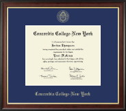 Concordia College New York Diploma Frame - Gold Embossed Diploma Frame in Studio Gold