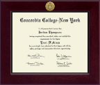 Concordia College New York Diploma Frame - Century Gold Engraved Diploma Frame in Cordova