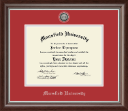 Mansfield University of Pennsylvania Diploma Frame - Silver Engraved Medallion Diploma Frame in Devonshire