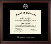 Mansfield University of Pennsylvania Diploma Frame - Silver Embossed Diploma Frame in Studio