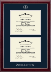 Xavier University Diploma Frame - Double Diploma Frame in Gallery Silver