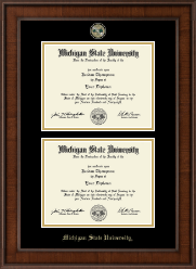 Michigan State University Diploma Frame - Double Diploma Masterpiece Medallion Frame in Madison