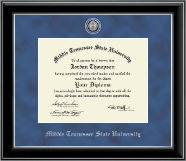 Middle Tennessee State University Diploma Frame - Silver Engraved Medallion Diploma Frame in Onyx Silver