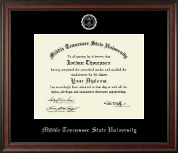 Middle Tennessee State University Diploma Frame - Silver Embossed Diploma Frame in Studio