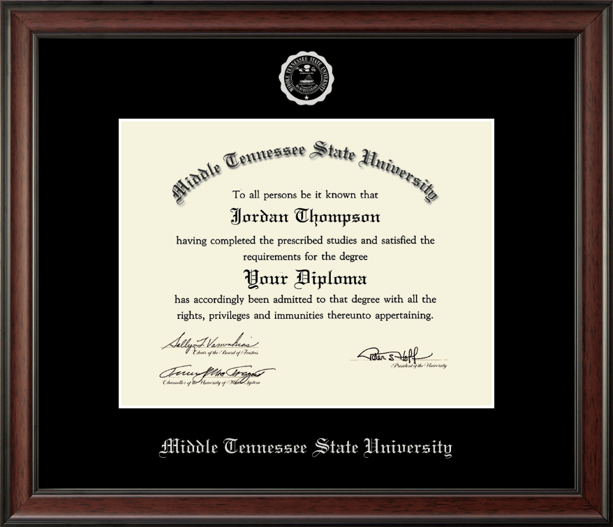 Middle Tennessee State University Silver Embossed Diploma