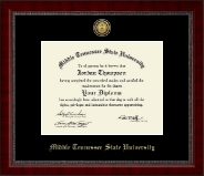 Middle Tennessee State University Diploma Frame - Gold Engraved Medallion Diploma Frame in Sutton