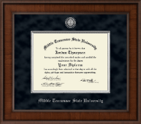 Middle Tennessee State University Diploma Frame - Presidential Silver Engraved Diploma Frame in Madison