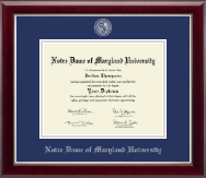 Notre Dame of Maryland University  Diploma Frame - Masterpiece Medallion Diploma Frame in Gallery Silver
