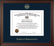 National Directory of U.S. Registered Securities Representatives & Advisors Certificate Frame - Registered Representative Gold Embossed Certificate Frame in Studio
