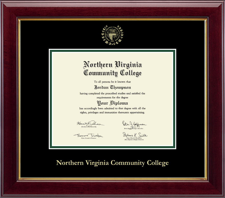 Northern Virginia Community College Gold Embossed Diploma