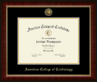 American College of Cardiology Certificate Frame - Gold Engraved Medallion Certificate Frame in Murano