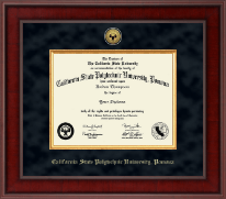 California State Polytechnic University, Pomona Diploma Frame - Presidential Gold Engraved Diploma Frame in Jefferson