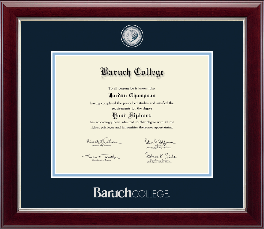 Baruch College Masterpiece Medallion Diploma Frame in Gallery Silver ...
