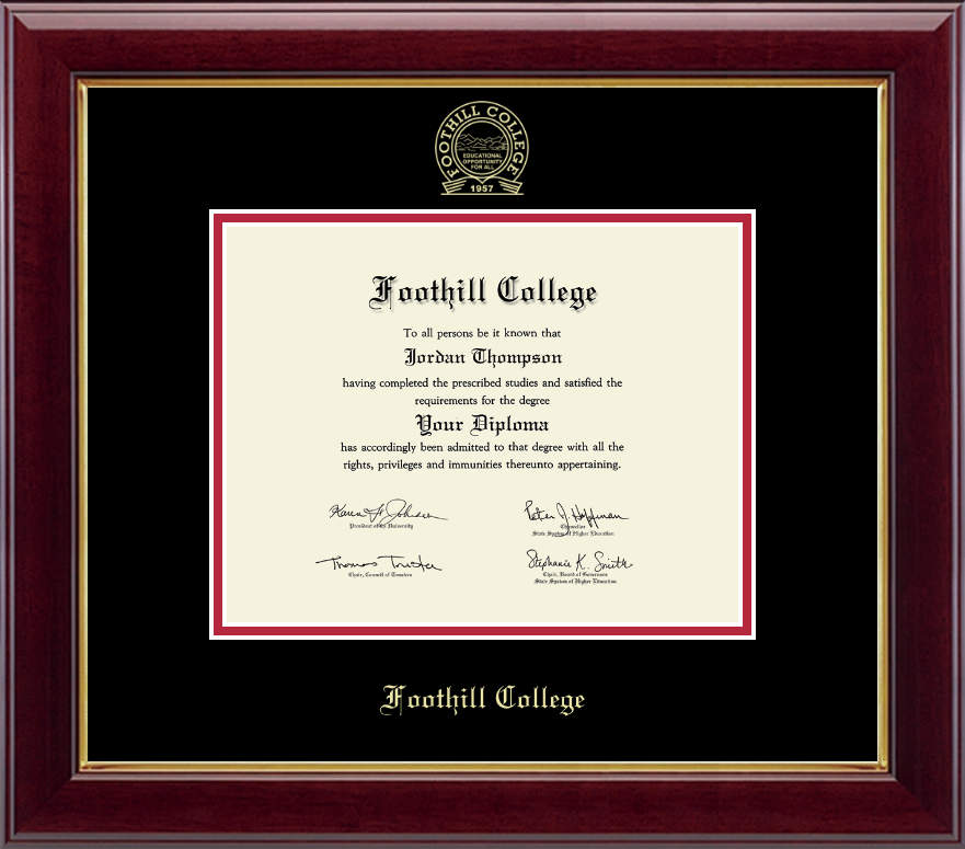 Foothill College Gold Embossed Diploma Frame In Gallery