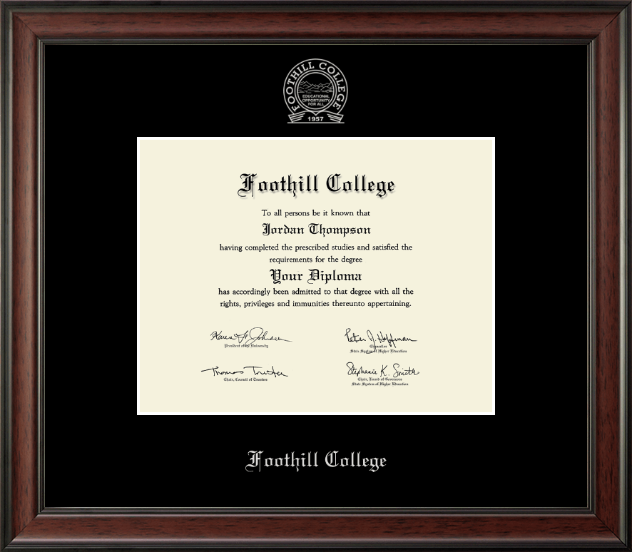 Foothill College Silver Embossed Diploma Frame In Studio