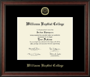 Williams Baptist College Diploma Frame - Gold Embossed Diploma Frame in Studio