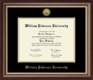William Paterson University Diploma Frame - Gold Engraved Medallion Diploma Frame in Hampshire