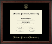 William Paterson University Diploma Frame - Gold Embossed Diploma Frame in Studio Gold