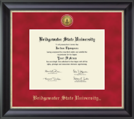 Bridgewater State University  Diploma Frame - Gold Engraved Medallion Diploma Frame in Noir