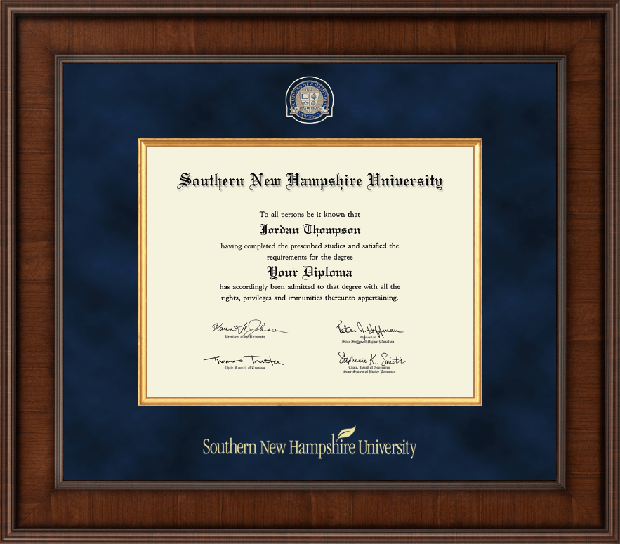 Southern New Hampshire University Presidential Masterpiece Diploma Frame In Madison Item