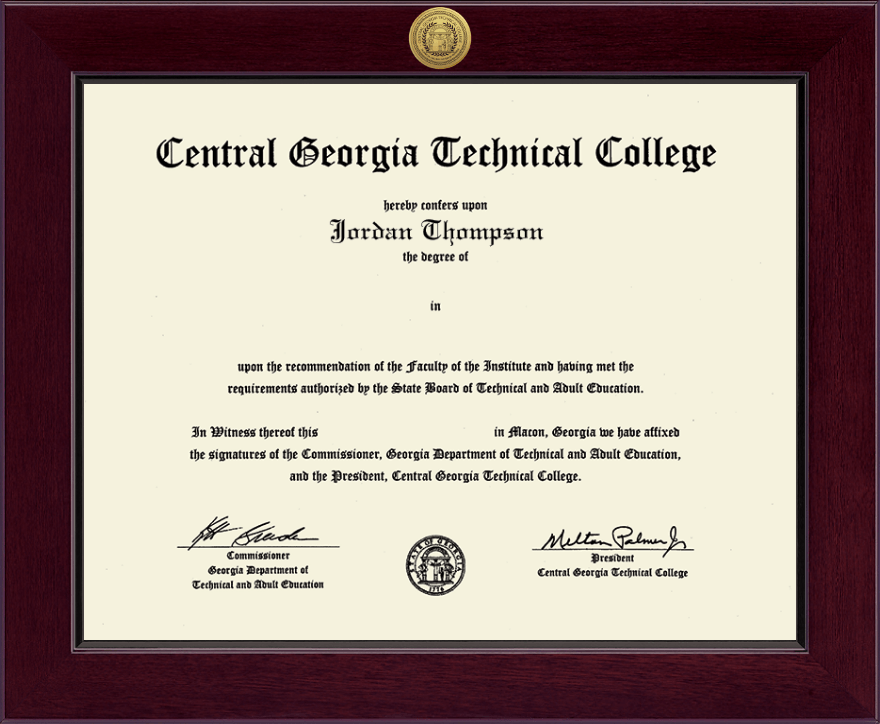 Central Georgia Technical College Century Gold Engraved