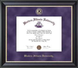 Western Illinois University Diploma Frame - Regal Edition Diploma Frame in Noir