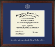 Southern Connecticut State University Diploma Frame - Silver Embossed Diploma Frame in Studio