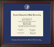 Central Connecticut State University Diploma Frame - Silver Embossed Diploma Frame in Studio