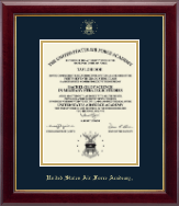 United States Air Force Academy Diploma Frame - Gold Embossed Diploma Frame in Gallery