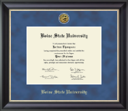 Boise State University Diploma Frame - Gold Engraved Medallion Diploma Frame in Noir