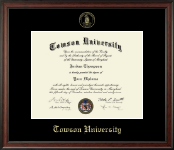 Towson University Diploma Frame - Gold Embossed Diploma Frame in Studio