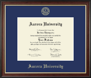 Aurora University Diploma Frame - Gold Embossed Diploma Frame in Studio Gold