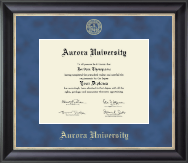 Aurora University Diploma Frame - Gold Embossed Diploma Frame in Noir