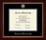 Aurora University Diploma Frame - Gold Engraved Medallion Diploma Frame in Murano