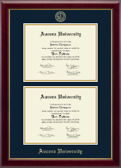 Aurora University Diploma Frame - Double Diploma Frame in Gallery