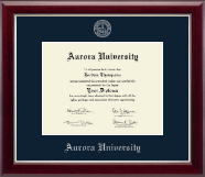 Aurora University Diploma Frame - Silver Embossed Diploma Frame in Gallery Silver